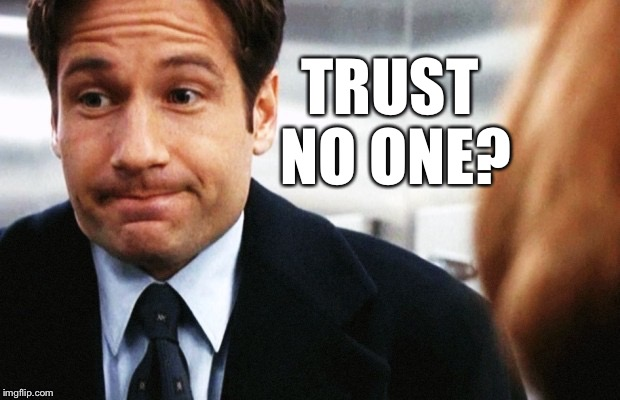 Fox Mulder | TRUST NO ONE? | image tagged in fox mulder | made w/ Imgflip meme maker