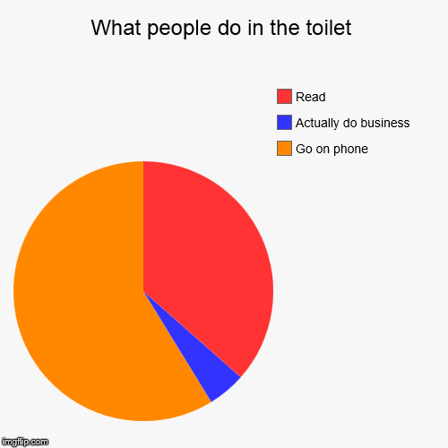 What goes on in the toilet | What people do in the toilet | Go on phone, Actually do business, Read | image tagged in funny,pie charts,toilet humor,toilet | made w/ Imgflip pie chart maker