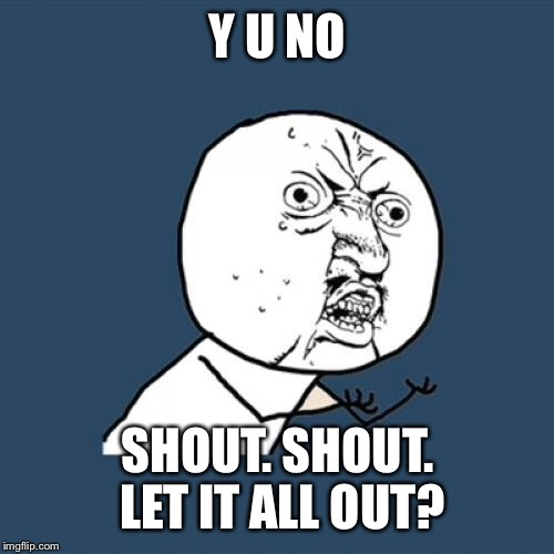 Y U No Meme | Y U NO SHOUT. SHOUT. LET IT ALL OUT? | image tagged in memes,y u no | made w/ Imgflip meme maker