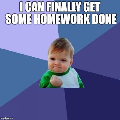Success Kid Meme | I CAN FINALLY GET SOME HOMEWORK DONE | image tagged in memes,success kid | made w/ Imgflip meme maker