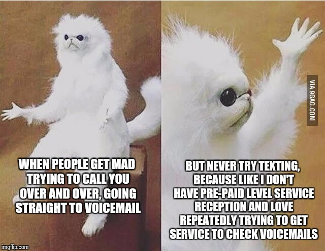 Is it just me? |  BUT NEVER TRY TEXTING, BECAUSE LIKE I DON'T HAVE PRE-PAID LEVEL SERVICE RECEPTION AND LOVE REPEATEDLY TRYING TO GET SERVICE TO CHECK VOICEMAILS; WHEN PEOPLE GET MAD TRYING TO CALL YOU OVER AND OVER, GOING STRAIGHT TO VOICEMAIL | image tagged in confused white monkey,first world problems,can you hear me now,memes,who leaves voicemails | made w/ Imgflip meme maker