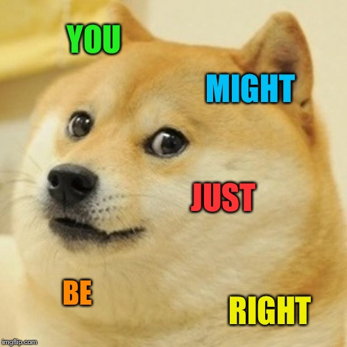 Doge Meme | YOU MIGHT JUST BE RIGHT | image tagged in memes,doge | made w/ Imgflip meme maker