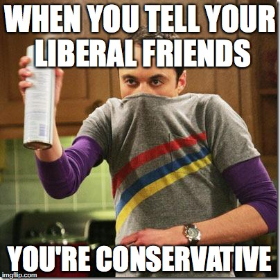 Big Bang Theory | WHEN YOU TELL YOUR LIBERAL FRIENDS YOU'RE CONSERVATIVE | image tagged in big bang theory | made w/ Imgflip meme maker