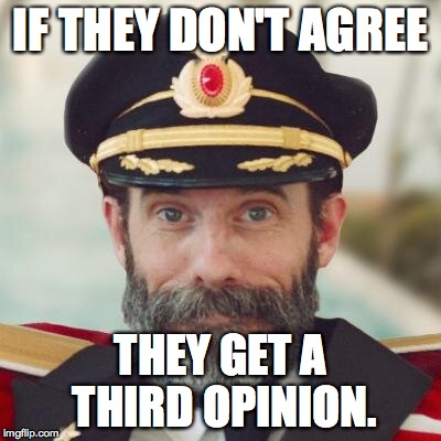 IF THEY DON'T AGREE THEY GET A THIRD OPINION. | made w/ Imgflip meme maker