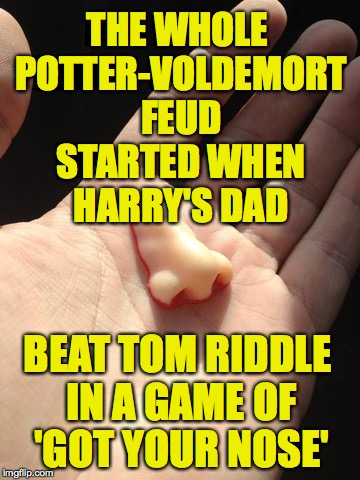 This is how it all started... |  THE WHOLE POTTER-VOLDEMORT FEUD STARTED WHEN HARRY'S DAD; BEAT TOM RIDDLE IN A GAME OF 'GOT YOUR NOSE' | image tagged in memes,harry potter,voldemort | made w/ Imgflip meme maker