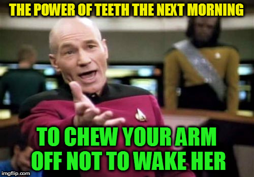 Picard Wtf Meme | THE POWER OF TEETH THE NEXT MORNING TO CHEW YOUR ARM OFF NOT TO WAKE HER | image tagged in memes,picard wtf | made w/ Imgflip meme maker