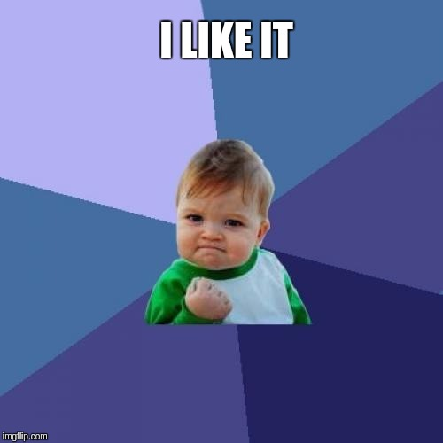 Success Kid Meme | I LIKE IT | image tagged in memes,success kid | made w/ Imgflip meme maker