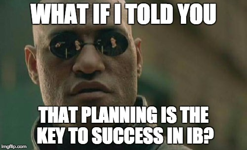 Matrix Morpheus Meme | WHAT IF I TOLD YOU THAT PLANNING IS THE KEY TO SUCCESS IN IB? | image tagged in memes,matrix morpheus | made w/ Imgflip meme maker