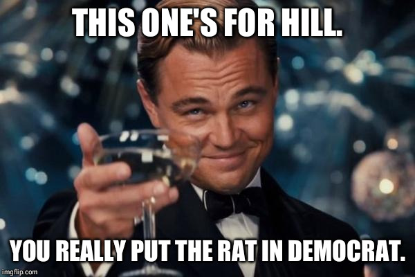 Rat toast | THIS ONE'S FOR HILL. YOU REALLY PUT THE RAT IN DEMOCRAT. | image tagged in memes,leonardo dicaprio cheers,democrat,rat,hillary,funny | made w/ Imgflip meme maker
