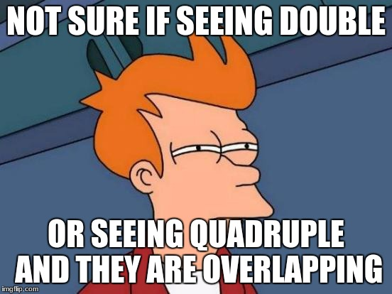 Futurama Fry Meme | NOT SURE IF SEEING DOUBLE OR SEEING QUADRUPLE AND THEY ARE OVERLAPPING | image tagged in memes,futurama fry | made w/ Imgflip meme maker