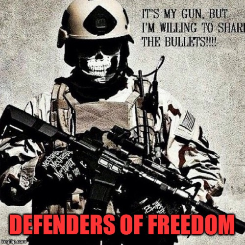 Defenders of freedom | DEFENDERS OF FREEDOM | image tagged in guns,bullets,share,military,army | made w/ Imgflip meme maker