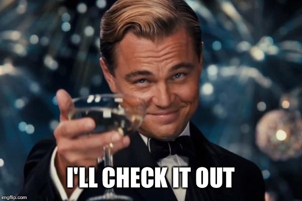 I'LL CHECK IT OUT | image tagged in memes,leonardo dicaprio cheers | made w/ Imgflip meme maker