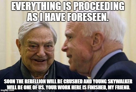 EVERYTHING IS PROCEEDING AS I HAVE FORESEEN. SOON THE REBELLION WILL BE CRUSHED AND YOUNG SKYWALKER WILL BE ONE OF US. YOUR WORK HERE IS FIN | image tagged in george soros,john mccain,star wars,the emperior,politics,american politics | made w/ Imgflip meme maker