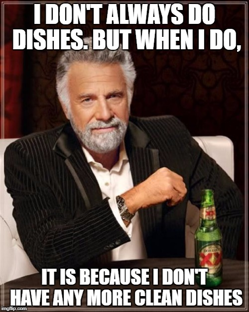 The Most Interesting Man In The World Meme | I DON'T ALWAYS DO DISHES. BUT WHEN I DO, IT IS BECAUSE I DON'T HAVE ANY MORE CLEAN DISHES | image tagged in memes,the most interesting man in the world | made w/ Imgflip meme maker