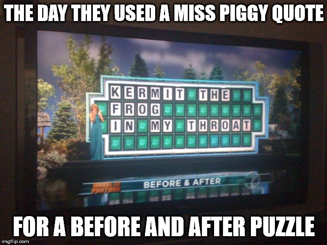 wheel of fortune oops  | THE DAY THEY USED A MISS PIGGY QUOTE FOR A BEFORE AND AFTER PUZZLE | image tagged in wheel of fortune,oops,puzzle,quote,miss piggy | made w/ Imgflip meme maker
