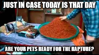 rapture today pets | JUST IN CASE TODAY IS THAT DAY ARE YOUR PETS READY FOR THE RAPTURE? | image tagged in pets,cat food,rapture | made w/ Imgflip meme maker