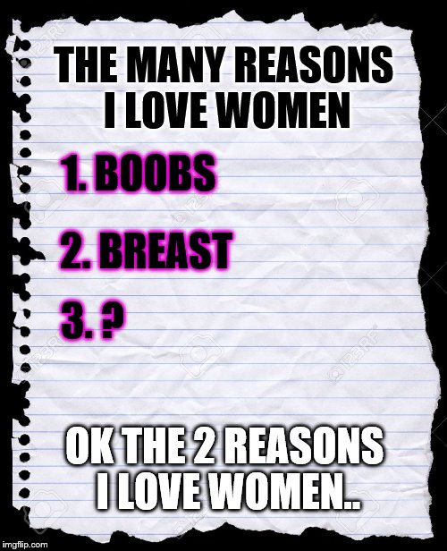 The reasons I love women... | THE MANY REASONS I LOVE WOMEN 1. BOOBS 2. BREAST 3. ? OK THE 2 REASONS I LOVE WOMEN.. | image tagged in blank paper,breast | made w/ Imgflip meme maker