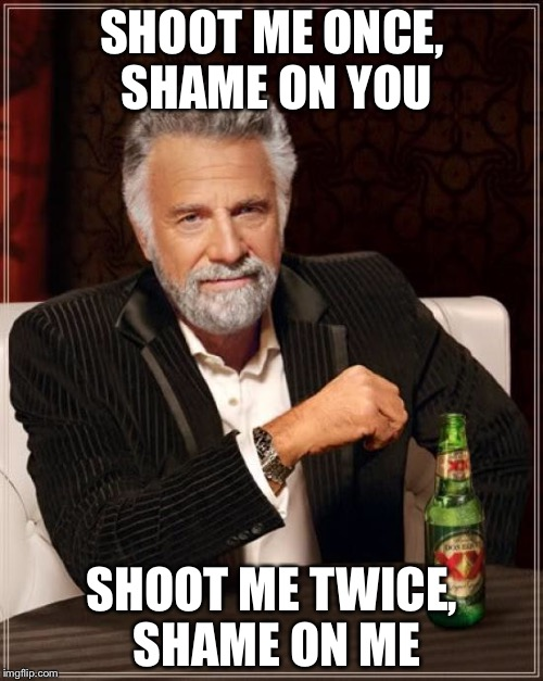 The Most Interesting Man In The World Meme | SHOOT ME ONCE, SHAME ON YOU SHOOT ME TWICE, SHAME ON ME | image tagged in memes,the most interesting man in the world | made w/ Imgflip meme maker