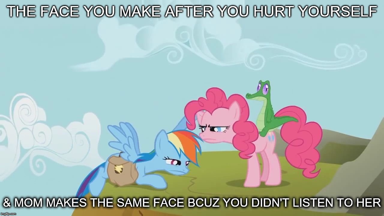 MLP Meme | THE FACE YOU MAKE AFTER YOU HURT YOURSELF & MOM MAKES THE SAME FACE BCUZ YOU DIDN'T LISTEN TO HER | image tagged in mlp meme,pinkie pie,rainbow dash | made w/ Imgflip meme maker