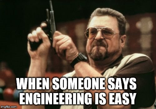 Am I The Only One Around Here | WHEN SOMEONE SAYS ENGINEERING IS EASY | image tagged in memes,am i the only one around here | made w/ Imgflip meme maker