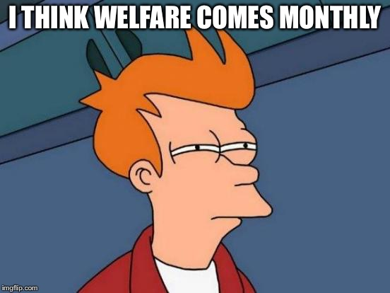 Futurama Fry Meme | I THINK WELFARE COMES MONTHLY | image tagged in memes,futurama fry | made w/ Imgflip meme maker