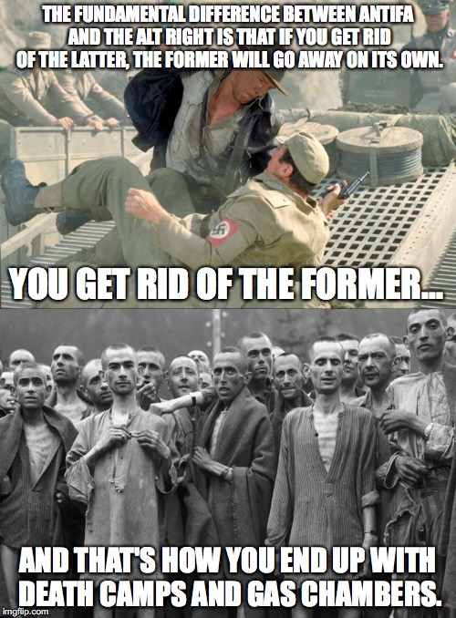 Antifa vs Alt Right | THE FUNDAMENTAL DIFFERENCE BETWEEN ANTIFA AND THE ALT RIGHT IS THAT IF YOU GET RID OF THE LATTER, THE FORMER WILL GO AWAY ON ITS OWN. YOU GE | image tagged in antifa,alt right,nazis,holocaust,charlottesville,donald trump | made w/ Imgflip meme maker