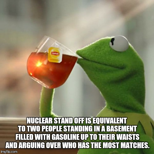 But Thats None Of My Business Meme | NUCLEAR STAND OFF IS EQUIVALENT TO TWO PEOPLE STANDING IN A BASEMENT FILLED WITH GASOLINE UP TO THEIR WAISTS AND ARGUING OVER WHO HAS THE MO | image tagged in memes,but thats none of my business,kermit the frog | made w/ Imgflip meme maker