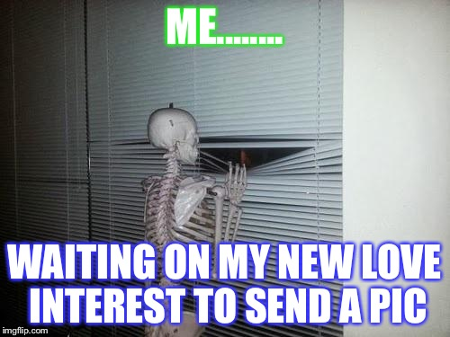 Skeleton Looking Out Window | ME........ WAITING ON MY NEW LOVE INTEREST TO SEND A PIC | image tagged in skeleton looking out window | made w/ Imgflip meme maker