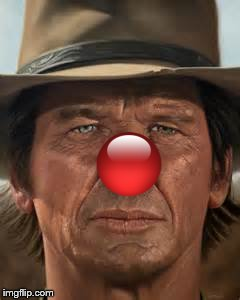 New look for an old friend. | image tagged in charles bronson,red nose,new look | made w/ Imgflip meme maker