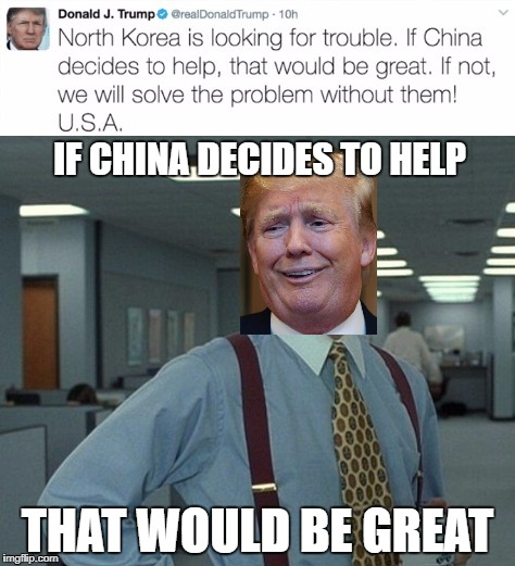 IF CHINA DECIDES TO HELP THAT WOULD BE GREAT | image tagged in donald trump | made w/ Imgflip meme maker