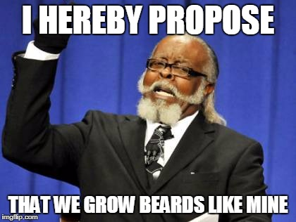 Too Damn High Meme | I HEREBY PROPOSE THAT WE GROW BEARDS LIKE MINE | image tagged in memes,too damn high | made w/ Imgflip meme maker