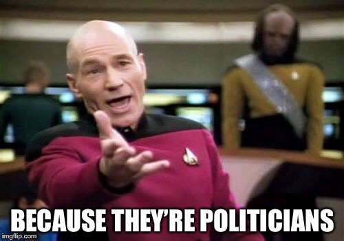 Picard Wtf Meme | BECAUSE THEY'RE POLITICIANS | image tagged in memes,picard wtf | made w/ Imgflip meme maker