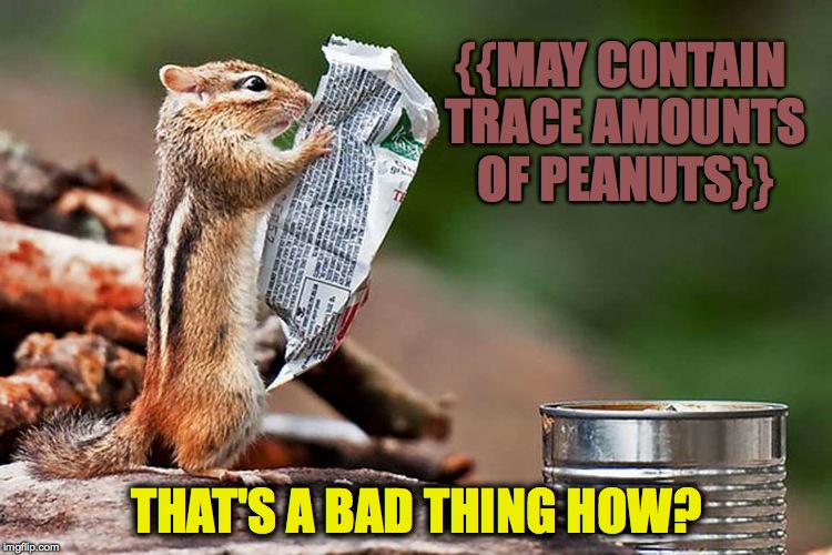 Chipmunk's Sunday Paper | {{MAY CONTAIN TRACE AMOUNTS OF PEANUTS}} THAT'S A BAD THING HOW? | image tagged in peanuts | made w/ Imgflip meme maker