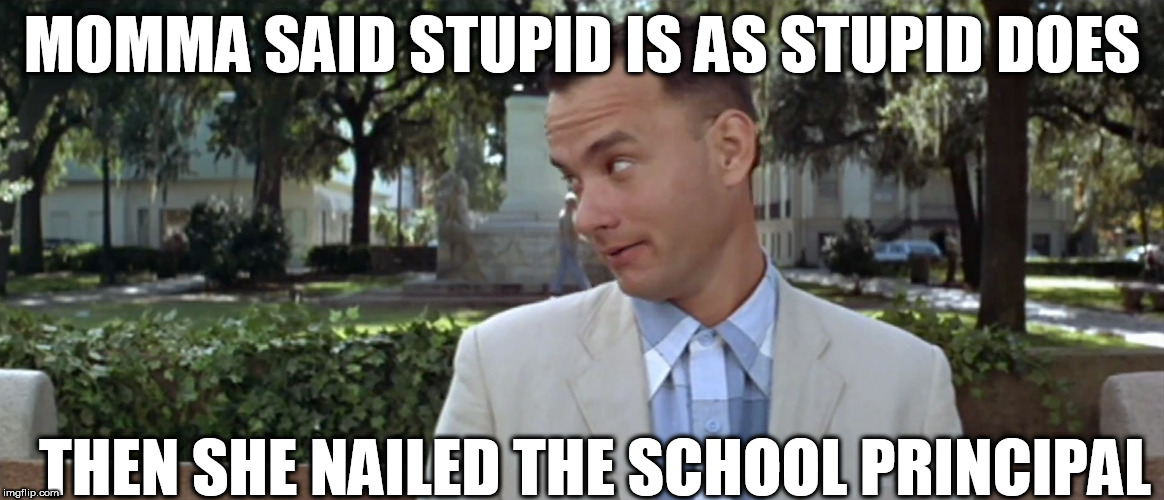 MOMMA SAID STUPID IS AS STUPID DOES THEN SHE NAILED THE SCHOOL PRINCIPAL | made w/ Imgflip meme maker