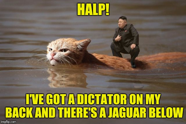 HALP! I'VE GOT A DICTATOR ON MY BACK AND THERE'S A JAGUAR BELOW | made w/ Imgflip meme maker