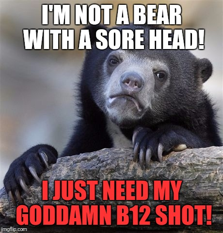 Confession Bear Meme | I'M NOT A BEAR WITH A SORE HEAD! I JUST NEED MY GO***MN B12 SHOT! | image tagged in memes,confession bear | made w/ Imgflip meme maker