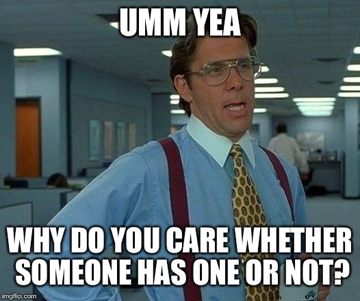 That Would Be Great Meme | UMM YEA WHY DO YOU CARE WHETHER SOMEONE HAS ONE OR NOT? | image tagged in memes,that would be great | made w/ Imgflip meme maker
