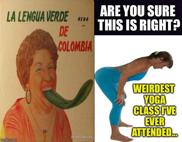 Note to self : Do not let my wife sign up for Colombian yoga classes. | ARE YOU SURE THIS IS RIGHT? WEIRDEST YOGA CLASS I'VE EVER ATTENDED... | image tagged in bad album art,music,yoga,class,tongue,exercise | made w/ Imgflip meme maker