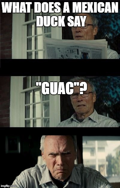 "Bad Eastwood Pun | WHAT DOES A MEXICAN DUCK SAY ""GUAC""? 
