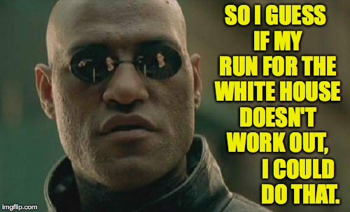 Matrix Morpheus Meme | SO I GUESS IF MY RUN FOR THE WHITE HOUSE DOESN'T WORK OUT, I COULD DO THAT. | image tagged in memes,matrix morpheus | made w/ Imgflip meme maker