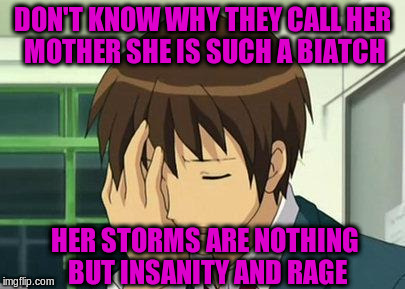 DON'T KNOW WHY THEY CALL HER MOTHER SHE IS SUCH A BIATCH HER STORMS ARE NOTHING BUT INSANITY AND RAGE | made w/ Imgflip meme maker