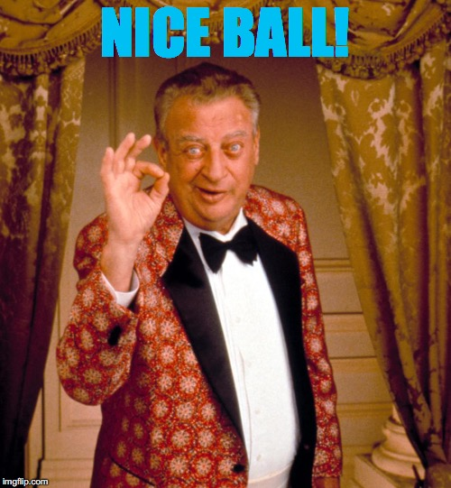 NICE BALL! | image tagged in rodney dangerfield tuxedo | made w/ Imgflip meme maker