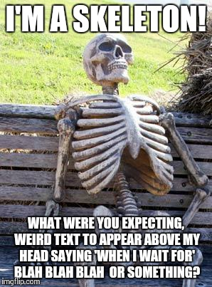 I have seriously no idea for the title. So just look at the meme, this text does NOT exist... | I'M A SKELETON! WHAT WERE YOU EXPECTING, WEIRD TEXT TO APPEAR ABOVE MY HEAD SAYING 'WHEN I WAIT FOR' BLAH BLAH BLAH  OR SOMETHING? | image tagged in memes,skeleton | made w/ Imgflip meme maker