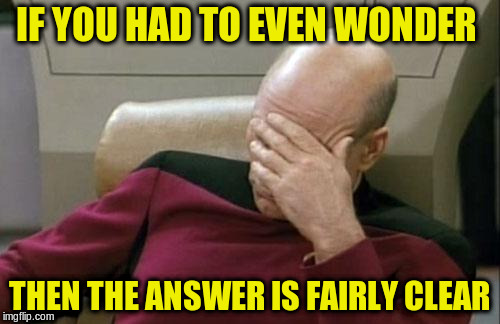 Captain Picard Facepalm Meme | IF YOU HAD TO EVEN WONDER THEN THE ANSWER IS FAIRLY CLEAR | image tagged in memes,captain picard facepalm | made w/ Imgflip meme maker