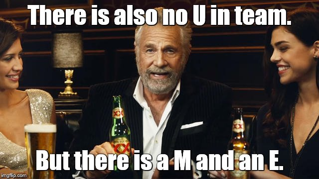 The Most Interesting Man in the World 2 | There is also no U in team. But there is a M and an E. | image tagged in the most interesting man in the world 2 | made w/ Imgflip meme maker