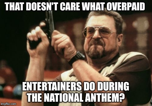 Am I The Only One Around Here Meme | THAT DOESN'T CARE WHAT OVERPAID ENTERTAINERS DO DURING THE NATIONAL ANTHEM? | image tagged in memes,am i the only one around here | made w/ Imgflip meme maker