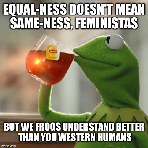 But Thats None Of My Business Meme | EQUAL-NESS DOESN'T MEAN SAME-NESS, FEMINISTAS BUT WE FROGS UNDERSTAND BETTER THAN YOU WESTERN HUMANS | image tagged in memes,but thats none of my business,kermit the frog | made w/ Imgflip meme maker