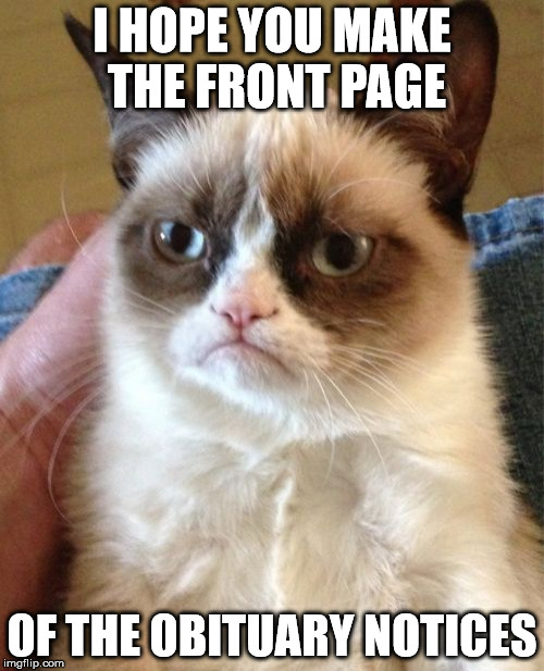 Grumpy Cat Meme | I HOPE YOU MAKE THE FRONT PAGE OF THE OBITUARY NOTICES | image tagged in memes,grumpy cat | made w/ Imgflip meme maker