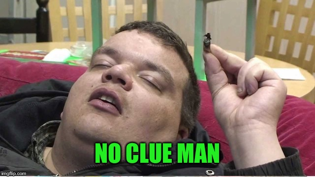 Sleeping stoner | NO CLUE MAN | image tagged in sleeping stoner | made w/ Imgflip meme maker