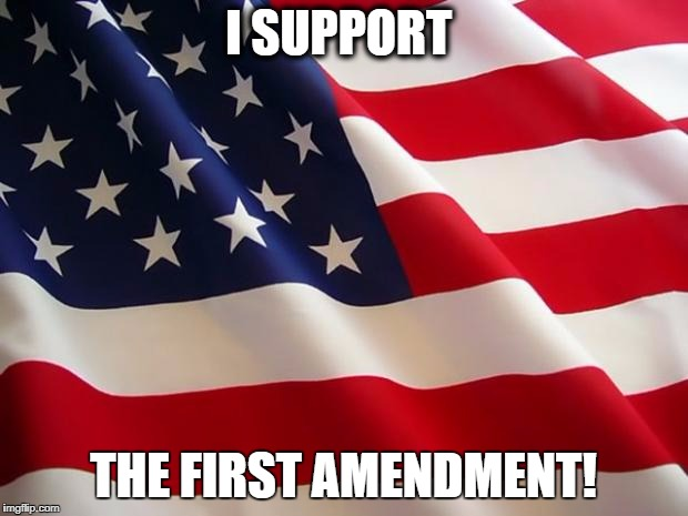 American flag | I SUPPORT THE FIRST AMENDMENT! | image tagged in american flag | made w/ Imgflip meme maker